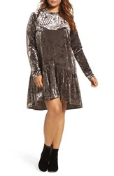 Elvi Plus Size Women's Drop Waist Crushed Velvet Dress Mauve
