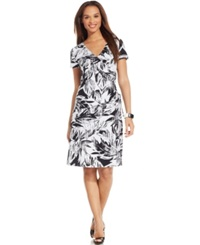 Jm Collection Short Sleeve Printed Faux Wrap Dress
