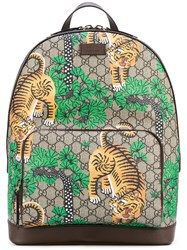 Gucci Bengal Leather Trim Backpack Men Cotton Leather One Size Brown