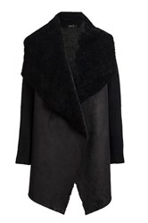 Quiz Black Suedette Waterfall Jacket Black