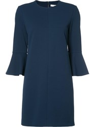 Tibi Flared Thee Quarters Sleeve Dress Blue