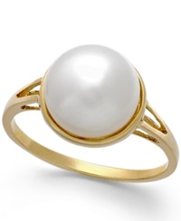 Macy's Cultured Freshwater Pearl 9Mm Button Ring In 14K Gold Yellow Gold
