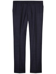 Jaeger Wool Herringbone Regular Suit Trousers Navy