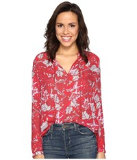 Lucky Brand Red Floral Peasant Top Red Multi Women's Blouse