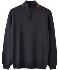 Austin Reed Half Zip Honeycomb Jumper Navy