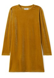 Weekday Fray Dess Velvet Jersey Dress Gold Yellow