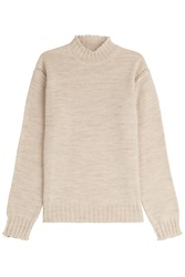 Alexa Chung For Ag Scotland Wool Turtleneck Pullover Beige