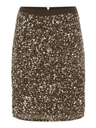 Biba Fully Embellished Zip Back Skirt Gold