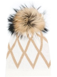 Max Mara Weekend Amour Bobble Hat Nude And Neutrals