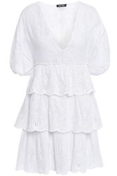 Love Sam Woman Lodhi Tiered Broderie Anglaise Cotton Voile Mini Dress White