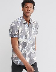 Asos Floral Shirt In Navy With Short Sleeves Navy