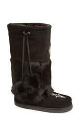 Women's Manitobah Mukluks 'Snowy Owl' Genuine Fur And Suede Mukluk Black
