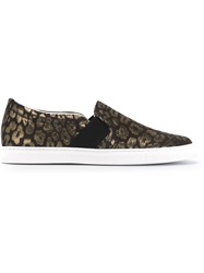 Lanvin Laminated Leopard Slip On Sneakers Black