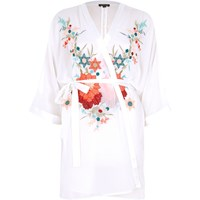 River Island Womens White Floral Embroidered Robe
