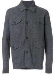 Z Zegna Knitted Jacket Men Wool L Grey