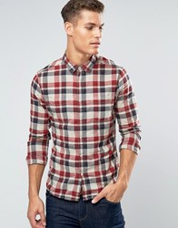 Esprit Slim Fit Check Shirt With Double Pocket Red