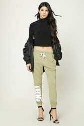 Forever 21 Vibing Graphic Sweatpants Olive Cream