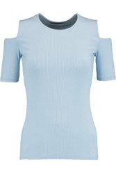 Bailey 44 Pafan Cutout Ribbed Stretch Knit Top Sky Blue