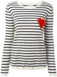 Chinti And Parker Breton Stripe Heart Jumper White