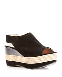 Furla Sofia Mixed Media Open Toe Wedges Black