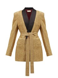 Sara Battaglia Lurex Single Breasted Tie Waist Jacket Gold