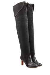 Chloe Suede And Leather Over The Knee Boots Grey