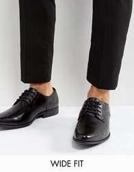 Asos Wide Fit Derby Shoes In Black Black