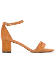 Tila March Amalfi Sandals Women Leather Goat Suede 38 Brown
