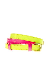 Asos Colour Block Fluro Belt With Double Buckle Detail Pinkyellow