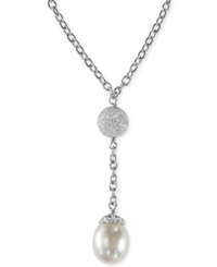 Effy Collection Effy Cultured Freshwater Pearl Drop Pendant Necklace In Sterling Silver 10Mm Black