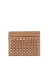Christian Louboutin Kios Spike Embellished Leather Cardholder Tan
