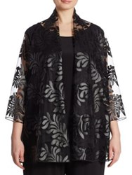 Caroline Rose Leaf Through Appliqued Cardigan Black