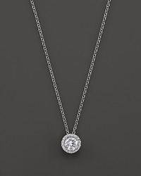 Bloomingdale's Diamond Halo Pendant Necklace In 14K White Gold 1.0 Ct. T.W.