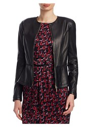 Emporio Armani Peplum Leather Cropped Jacket Black