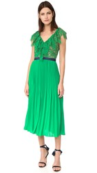 Three Floor Dress Code Pleat Dress Emerald Nude
