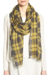 Women's Eileen Fisher Plaid Linen Wool And Cashmere Scarf