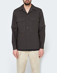 Christophe Lemaire Detachable Sleeve Overshirt In Lichen