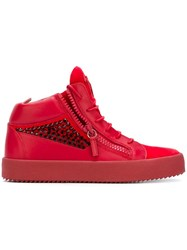 Giuseppe Zanotti Design Crystal Embellished Mid Top Sneakers Red