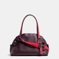 Coach Outlaw Satchel In Colorblock Python Black Copper Oxblood