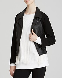 Dkny Cropped Leather Jacket With Ponte Sleeves