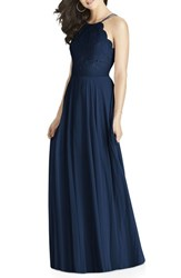 Dessy Collection 'S Lace And Chiffon Halter Gown Midnight
