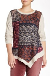 Democracy Long Sleeve Print Front Tee Plus Size Multi