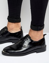 Asos Lace Up Shoes In Black Leather Black