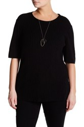 Lafayette 148 New York Ribbed Cashmere Sweater Plus Size Black