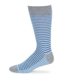 Black Brown Contrast Stripe Socks Cloud Blue