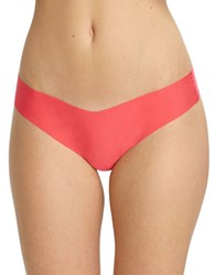 Commando Solid Seamless Cotton Blend Hipsters Coral Rose