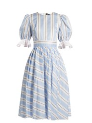 Anna October Puff Sleeve Striped Cotton Dress Blue White