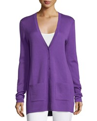 Michael Kors Button Front Cashmere Cardigan W Pockets Lilac Purple Women's