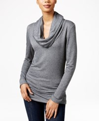 Maison Jules Heathered Cowl Neck Snit Top Only At Macy's Charcoal Heather