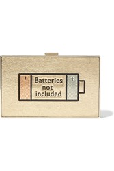 Anya Hindmarch Imperial Batteries Not Included Metallic Textured Leather Clutch